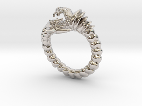 Viper Fish Ring  in Rhodium Plated Brass