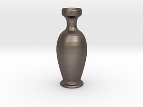 Vase in a Vase in Polished Bronzed Silver Steel