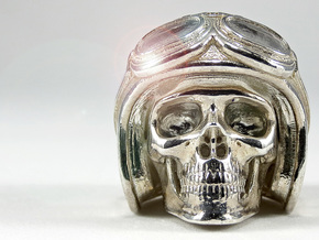 """Easy Rider Skull Pendant """"Silver"""" in Polished Silver"""