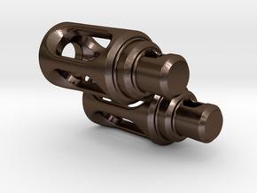 Tritium Earrings 3 (3x11mm Vials) in Polished Bronze Steel