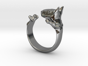 BullTerrier  ring  size 13 in Fine Detail Polished Silver