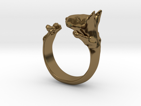 BullTerrier  ring  size 13 in Polished Bronze
