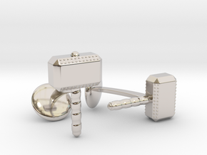 Thor Hammer Cufflinks in Rhodium Plated Brass