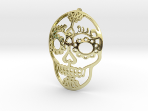 Day of the Dead Skull Pendant in 18k Gold Plated Brass
