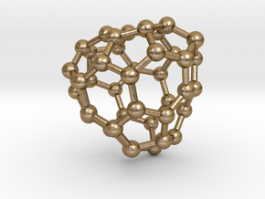 0142 Fullerene C40-30 c3 in Polished Gold Steel