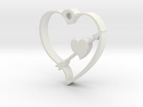 Cupid's Shot Heart Pendant  in White Natural Versatile Plastic