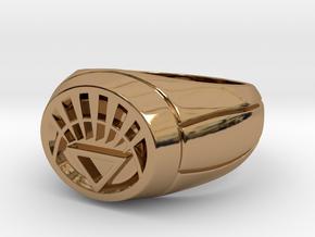 White Lantern Ring in Polished Brass