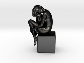 Girl On Box in Matte Black Steel