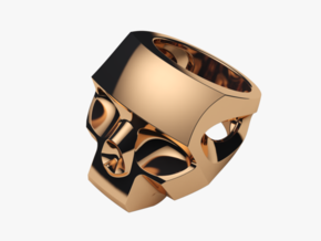 Stylized Skull Ring Hollow in Polished Brass