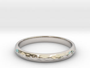 wave ring(size = USA 5.5) in Rhodium Plated Brass