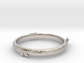 zipper ring(size = USA 5.5)  in Rhodium Plated Brass