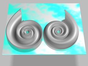 Nautilus Pendant/Earring in White Natural Versatile Plastic