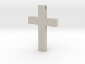 Latin Cross Pendant (Monroe Cross Variation) in Natural Sandstone