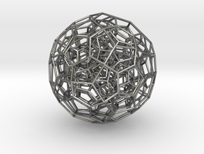 120-Cell, Perspective Projection 1 in Polished Silver