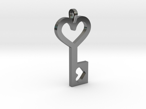Heart Key Pendant in Fine Detail Polished Silver