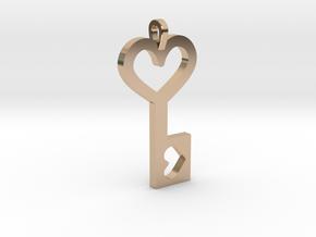 Heart Key Pendant in 14k Rose Gold Plated Brass
