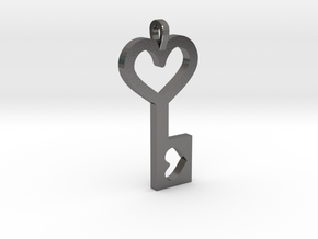 Heart Key Pendant in Polished Nickel Steel