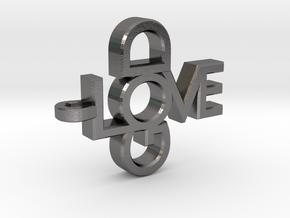 Love God Pendant in Polished Nickel Steel
