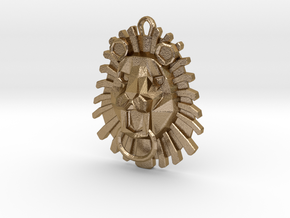 Lion Pendant in Polished Gold Steel