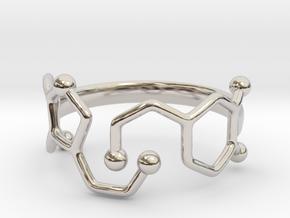Dopamine Serotonin Ring - Size 7 in Rhodium Plated Brass
