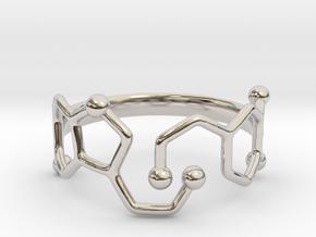 Dopamine & Serotonin Molecule Ring - Size 8 in Rhodium Plated Brass