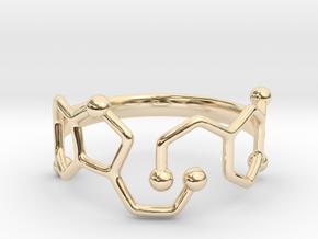 Dopamine & Serotonin Molecule Ring - Size 8 in 14K Yellow Gold