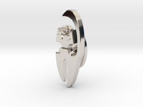 Cat Cufflink in Rhodium Plated Brass