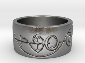 """""""IDIC"""" Vulcan Script Ring - Engraved Style in Natural Silver: 5 / 49"""