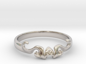 Skull of ring(size = USA 5.5)  in Rhodium Plated Brass