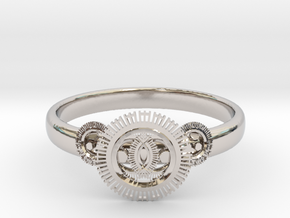 Gear ring(size = USA 5.5)  in Rhodium Plated Brass