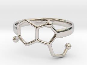Serotonin Molecule Ring - Size 7 in Platinum