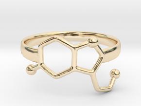 Serotonin Molecule Ring - Size 8 in 14K Yellow Gold