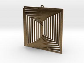 Pendant Wind Spinner 3D Square in Natural Bronze