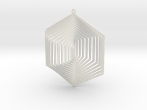 Pendant Wind Spinner 3D Hexagon in White Natural Versatile Plastic