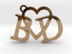 B love D (Key chain - Pendant) in Polished Brass