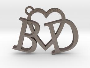 B love D (Key chain - Pendant) in Polished Bronzed Silver Steel