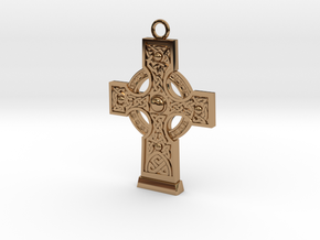 Celticcross1 Necklace in Polished Brass