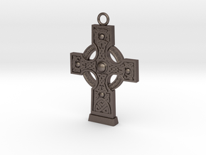 Celticcross1 Necklace in Polished Bronzed Silver Steel