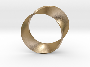 0155 Mobius strip (p=2, d=5cm) #003 in Polished Gold Steel