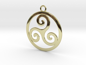 Triskele Pendant 2 in 18k Gold Plated Brass