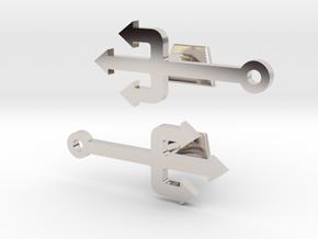 Pitchfork Cufflinks  in Rhodium Plated Brass