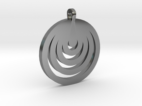 Moon Circles Pendant in Fine Detail Polished Silver