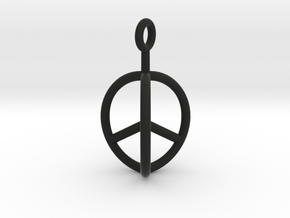 3D Peace Mark in Black Natural Versatile Plastic