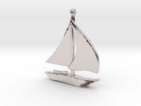 Boat Pendant in Rhodium Plated Brass