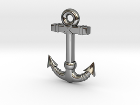Anchor Pendant 1 in Fine Detail Polished Silver