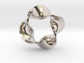 0160 Mobius strip (p=4, d=10cm) #008 in Rhodium Plated Brass