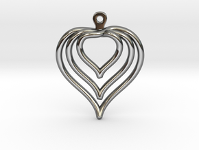 3D Printed Wired Love Yourself Heart Earrings in Fine Detail Polished Silver