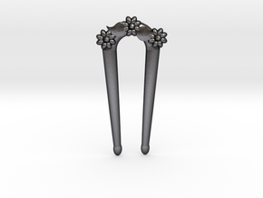 Hairfork Flower Arch 10cm hair fork in Polished and Bronzed Black Steel