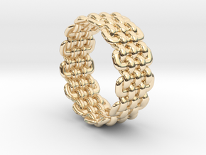 Wicker Pattern Ring Size 12 in 14k Gold Plated Brass