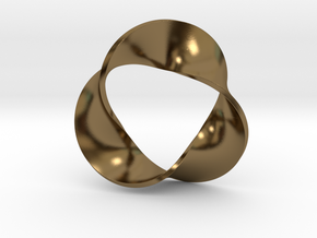 0157 Mobius strip (p=3, d=5cm) #005 in Polished Bronze